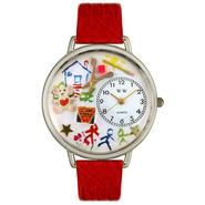 Whimsical Watches Preschool Teacher Red Leather And Silvertone Watch #U0640003 at Sears.com