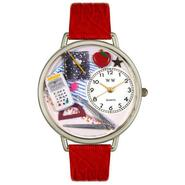 Whimsical Watches Math Teacher Red Leather And Silvertone Watch #U0640007 at Sears.com