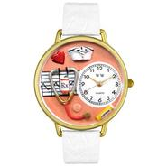 Whimsical Watches Nurse Orange White Skin Leather And Goldtone Watch #G0620043 at Sears.com