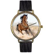 Whimsical Watches Arabian Horse Black Leather And Goldtone Photo Watch #N0110023 at Kmart.com