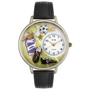 Whimsical Watches Soccer Black Padded Leather And Silvertone Watch #U0820002 at Kmart.com