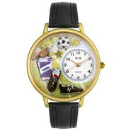Whimsical Watches Soccer Black Padded Leather And Goldtone Watch #G0820002 at Kmart.com