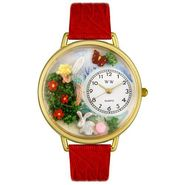 Whimsical Watches Garden Fairy Red Leather And Goldtone Watch #G1210010 at Sears.com