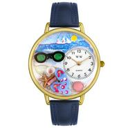 Whimsical Watches Flip-flops Navy Blue Leather And Goldtone Watch #G1210015 at Sears.com