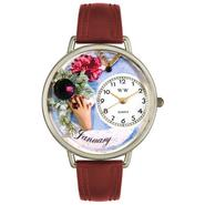 Whimsical Watches Birthstone: January Burgundy Leather And Silvertone Watch #U0910001 at Sears.com