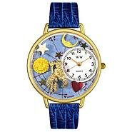 Whimsical Watches Aquarius Royal Blue Leather And Goldtone Watch #G1810001 at Sears.com