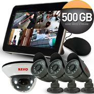 "Revo Security Surveillance System with 4 Channel 5G DVR4, 10.5"" Built-in Monitor and (4)600TVL 33' Nightvision Cameras at Kmart.com"