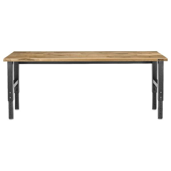Gladiator Premier Series 42 in. H x 96 in. W x 25 in. D Maple Top Adjustable Height Workbench in Hammered Granite, Maple...