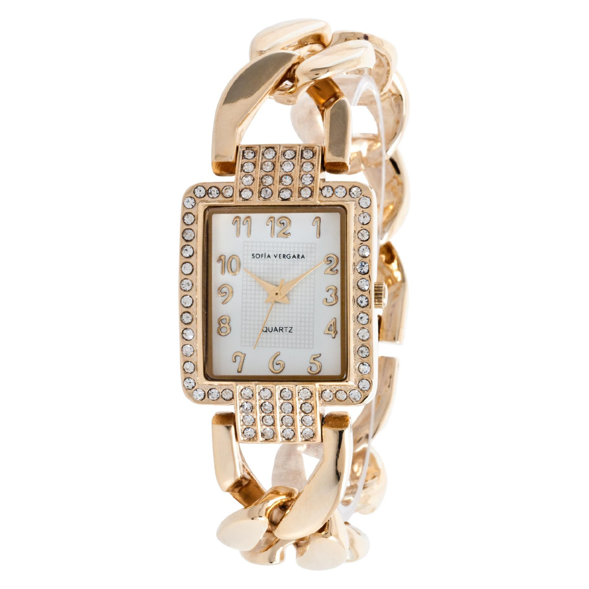 Ladies Crystal Accent White Dial with Gold