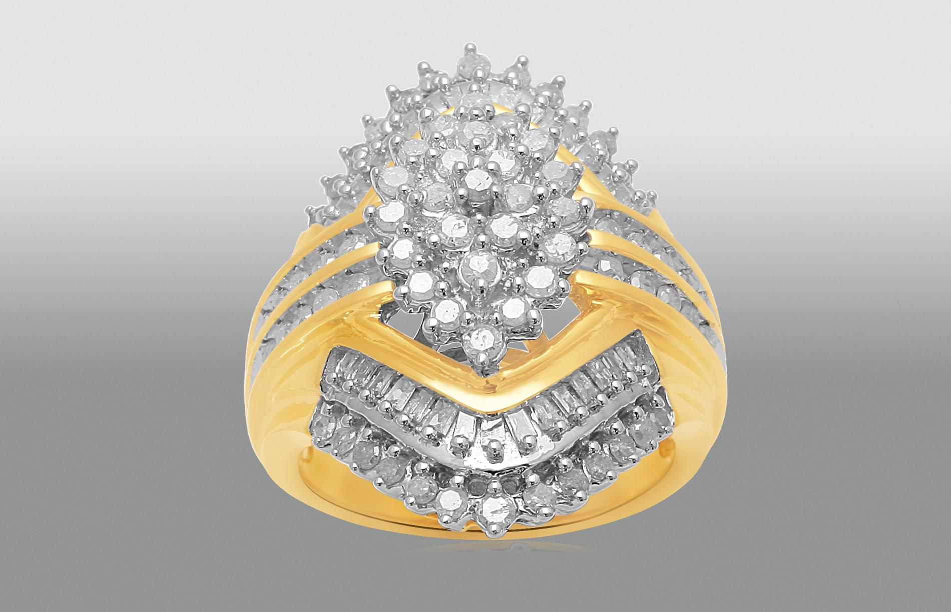 1 Cttw. Round & Baguette Cut Gold Finished Diamond Cluster Ring