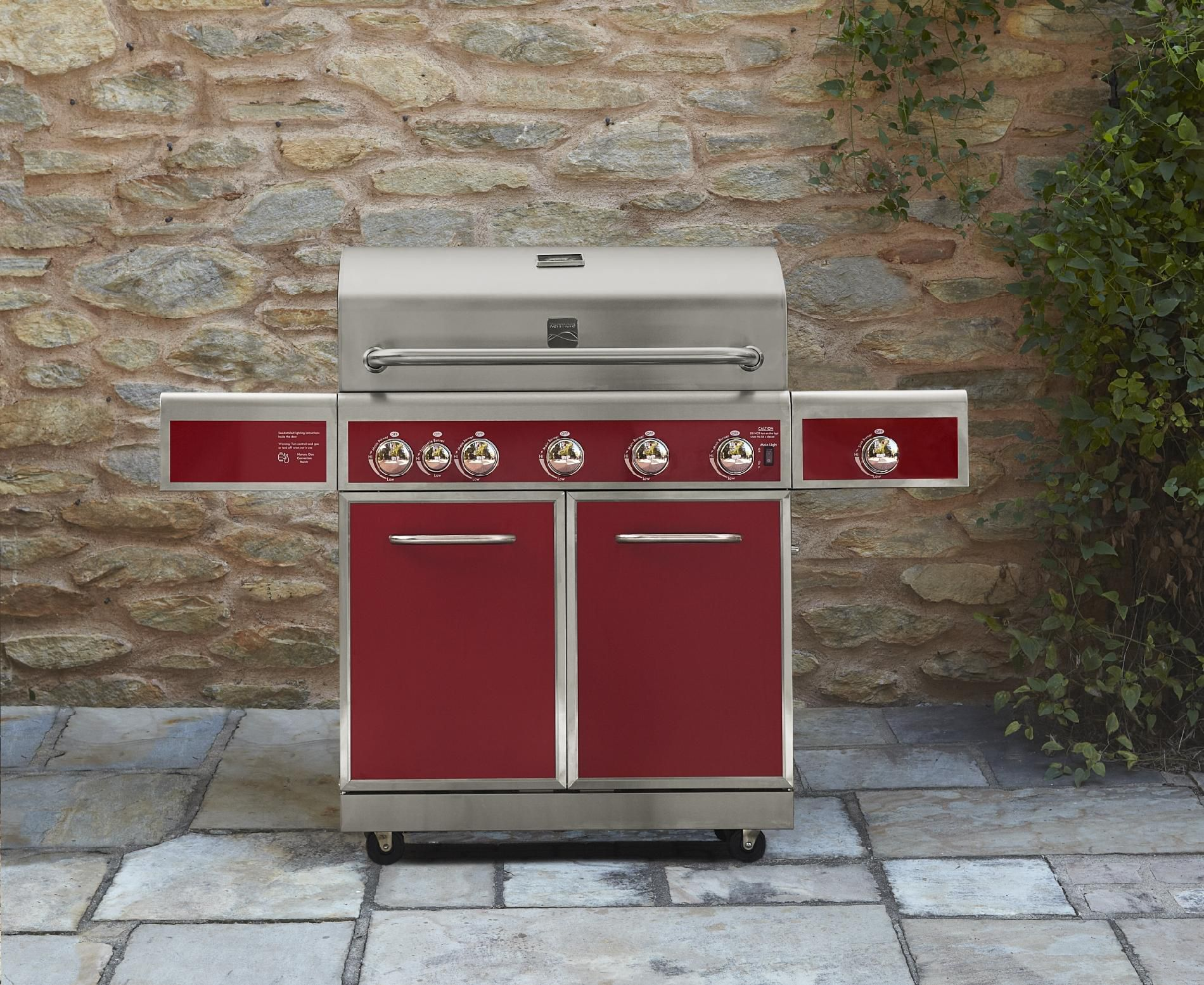 Kenmore 5-Burner Gas Grill with Ceramic Searing and Rotisserie Burners - Red Metallic