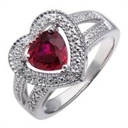 Lab Created Ruby Heart Diamond Ring in Sterling Silver at Kmart.com