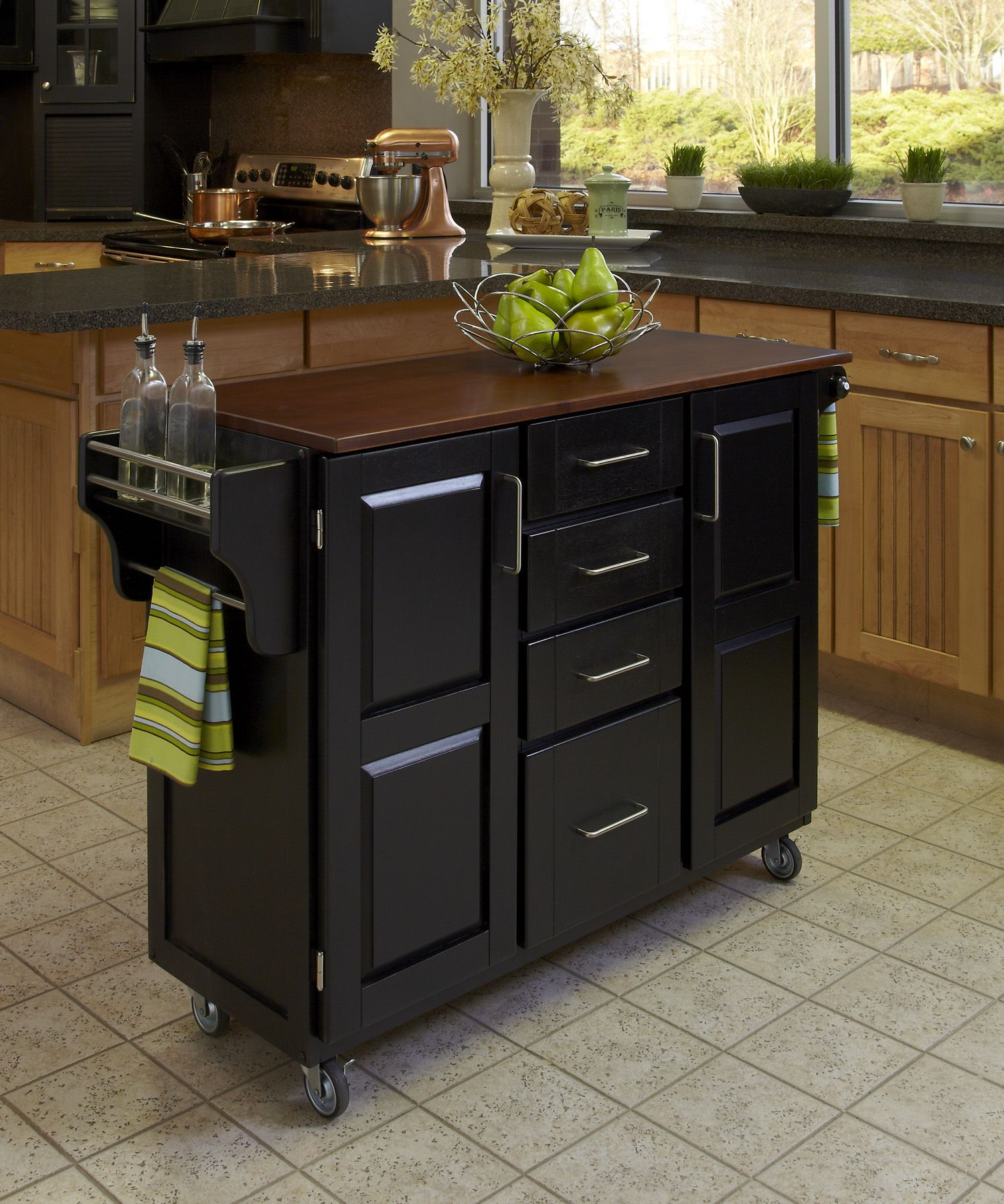 Create-a-Cart Black Finish with Oak Top