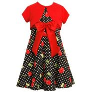 Ashley Ann Girl's Dress Cherry Polka Dot Short Sleeve with Cardigan at Sears.com