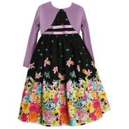Ashley Ann Girl's Dress Floral Boarder Short Sleeve with Cardigan at Sears.com