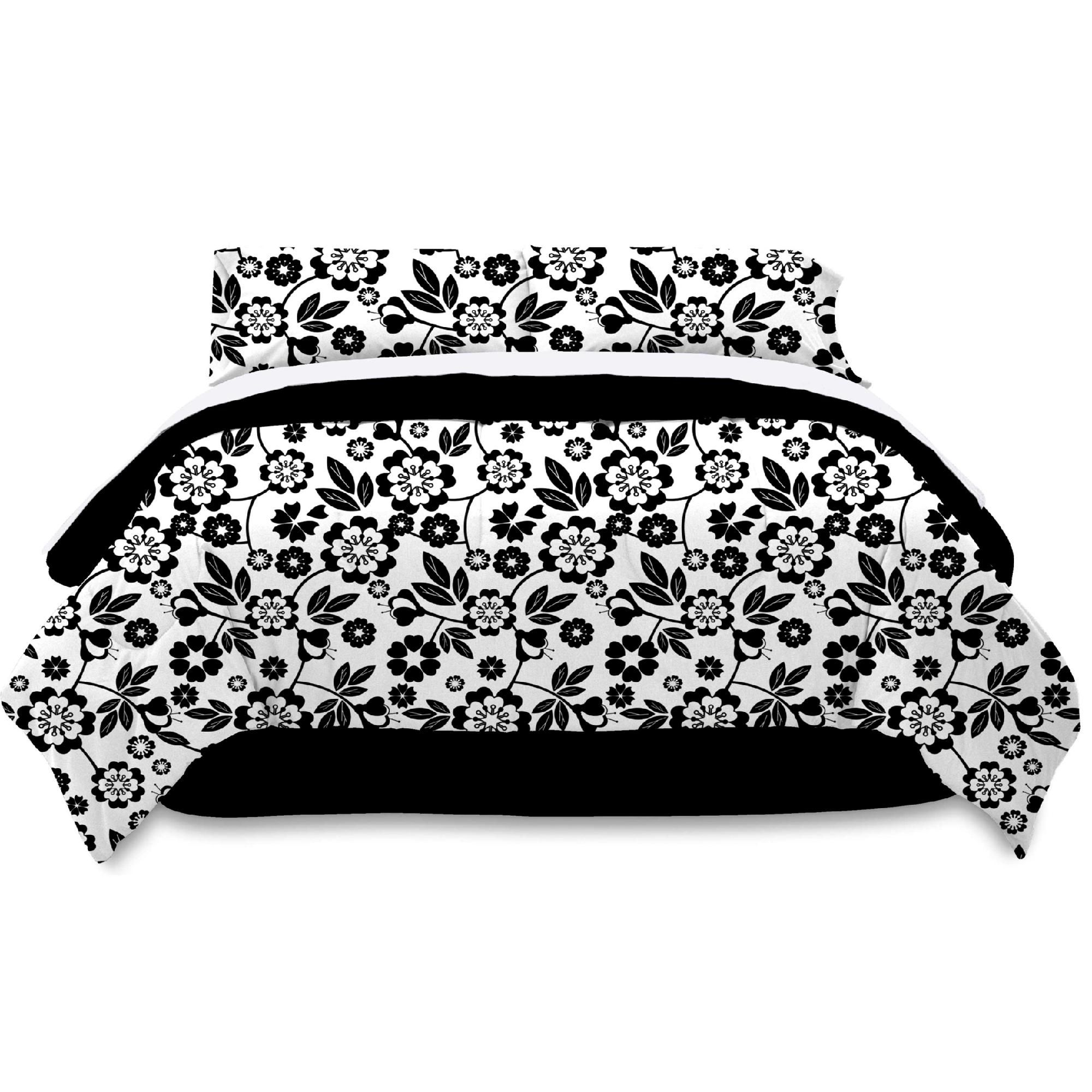Metro Luxe Black and White Floral King Bed Ensemble