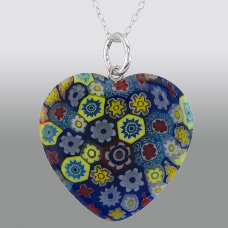 Silver Heart Shape Colored Glass Pendant