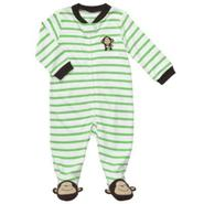 Carter's Newborn Boy's Bodysuit Long Sleeve Footed Monkey Strip Green at Sears.com