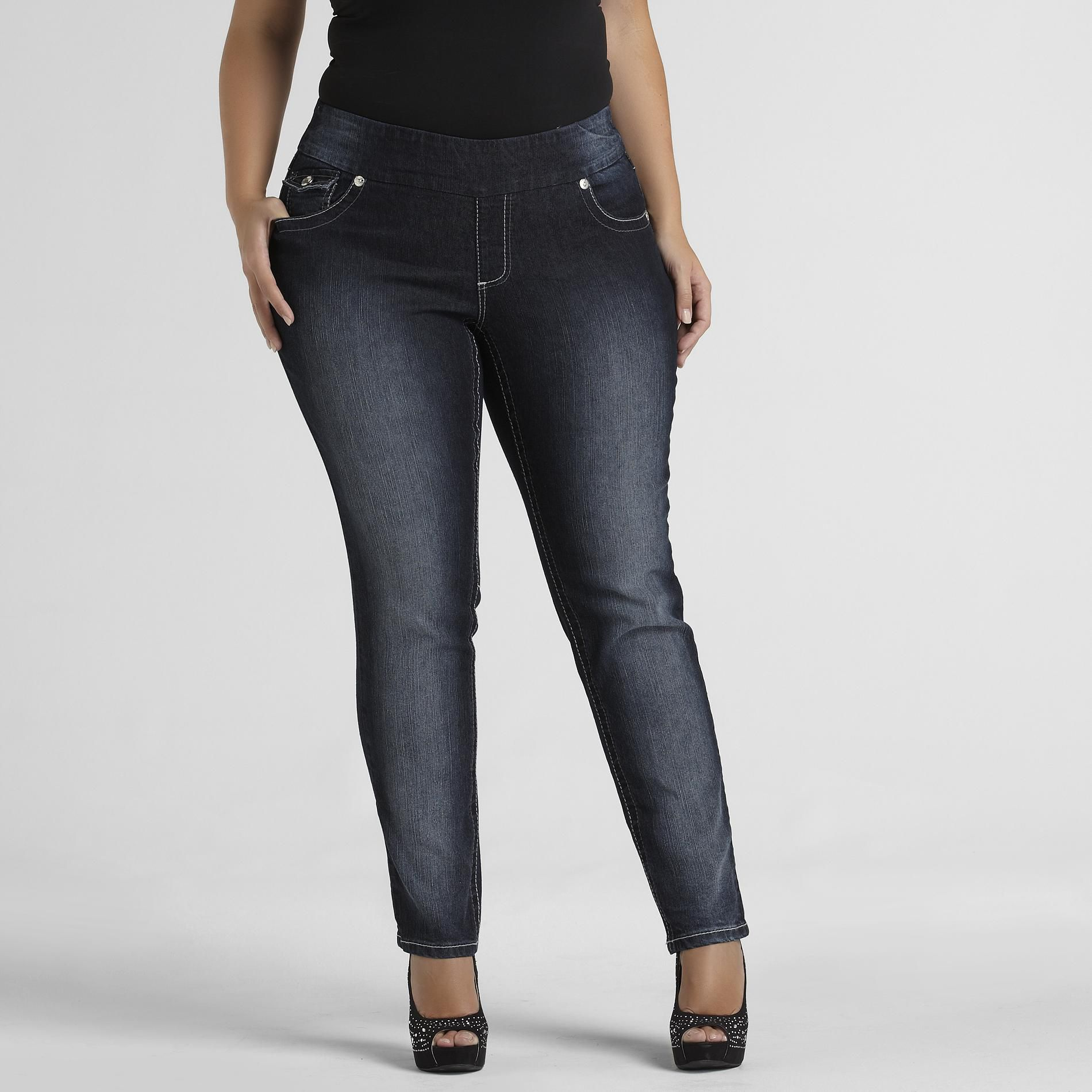 Angels Women's Plus Bling Back Pocket Skinny Jeans at Sears.com