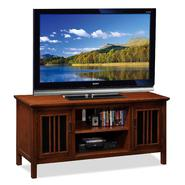 "Leick Riley Holliday 50""  TV Stand with Storage - Amber Cherry with Black Glass at Sears.com"