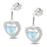 Sterling Silver 2 CT TGW Sky Blue Topaz 0.01 CT TDW Diamond Heart Earrings (G-H, I3) at Kmart.com