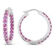 Sterling Silver 3 3/5 CT TGW Created Pink Sapphire Hoop Earrings at Kmart.com