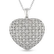 Sterling Silver 1/2 CT TGW Created White Sapphire Heart Pendant With Chain at Sears.com