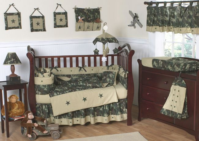 Sweet Jojo Designs Camo Green Collection 9pc Crib Bedding Set