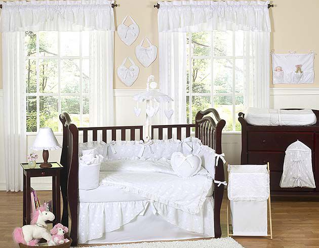 Sweet Jojo Designs Eyelet White Collection 9pc Crib Bedding Set