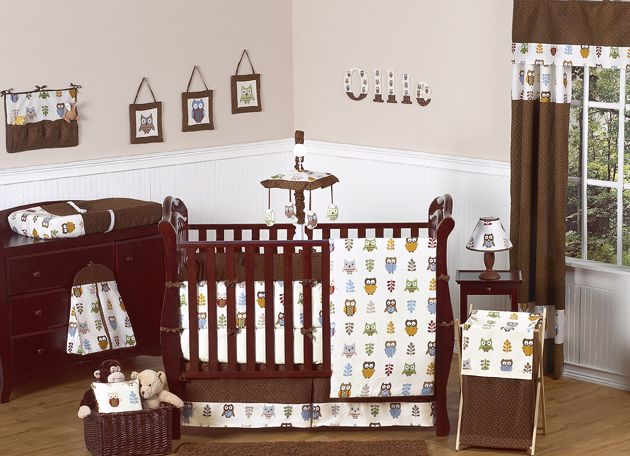 Sweet Jojo Designs Owl Collection 9pc Crib Bedding Set