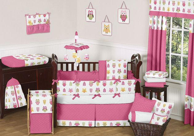Sweet Jojo Designs Owl Pink Collection 9pc Crib Bedding Set