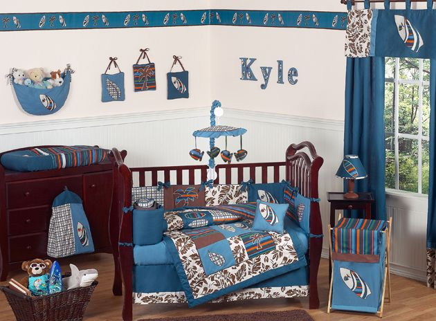 Sweet Jojo Designs Surf Blue Collection 9pc Crib Bedding Set