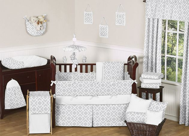 Sweet Jojo Designs Diamond Gray and White Collection 9pc Crib Bedding Set