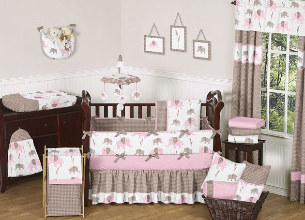 Sweet Jojo Designs Elephant Pink Collection 9pc Crib Bedding Set
