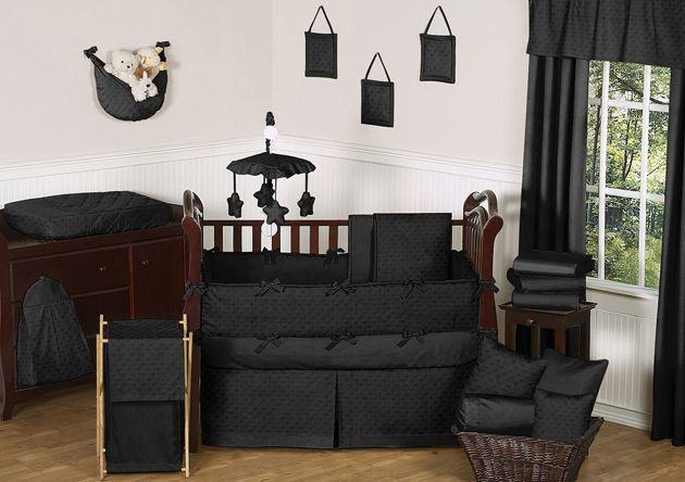 Sweet Jojo Designs Minky Dot Black Collection 9pc Crib Bedding Set
