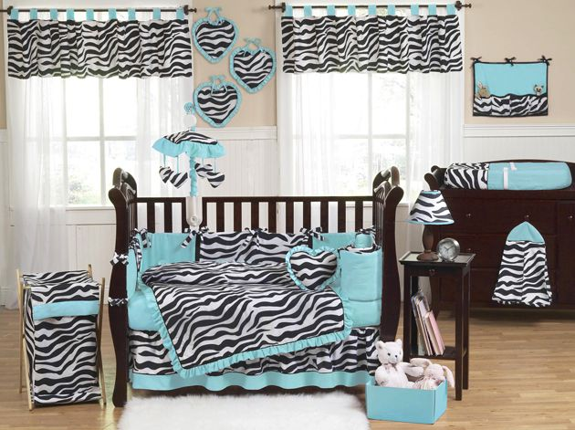 Sweet Jojo Designs Zebra Turquoise Collection 9pc Crib Bedding Set
