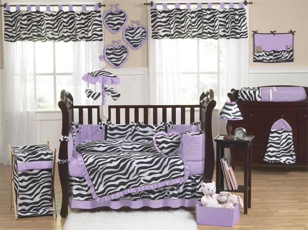 Sweet Jojo Designs Zebra Purple Collection 9pc Crib Bedding Set