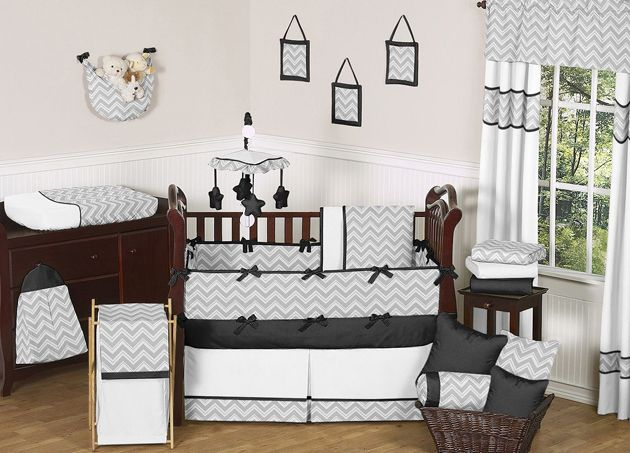 Sweet Jojo Designs Zig Zag Black and Gray Collection 9pc Crib Bedding Set