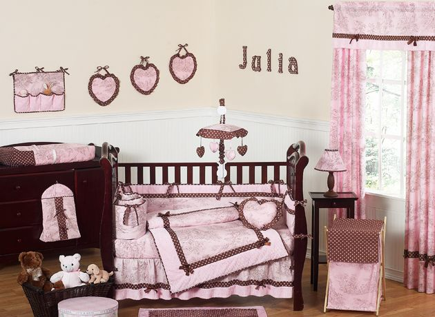 Pink and Brown Toile Collection 9pc Crib Bedding Set