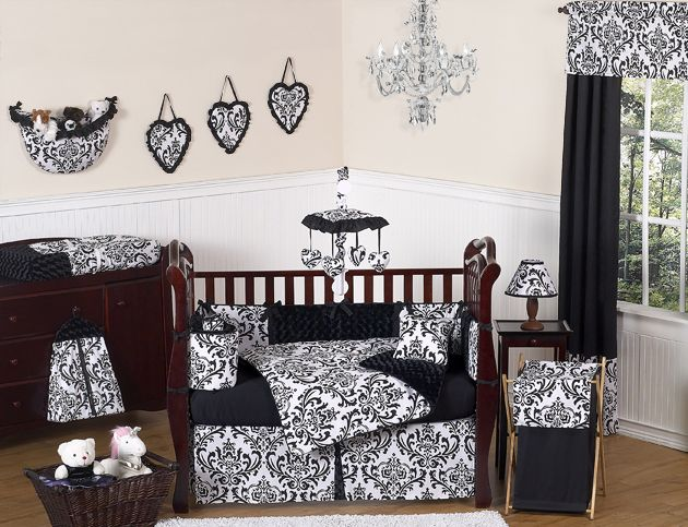 Isabella Black and White Collection 9pc Crib Bedding Set