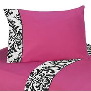 Sweet Jojo Designs Isabella Hot Pink, Black and White Collection Queen Sheet Set at Sears.com