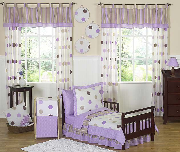 Sweet Jojo Designs Mod Dots Purple Collection 5pc Toddler Bedding Set