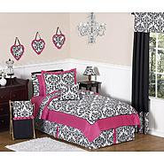Sweet Jojo Designs Isabella Hot Pink, Black and White Collection 3pc Full/Queen Bedding Set at Sears.com