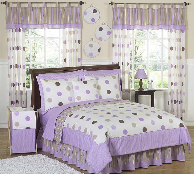 Sweet Jojo Designs Mod Dots Purple Collection 4pc Twin Bedding Set