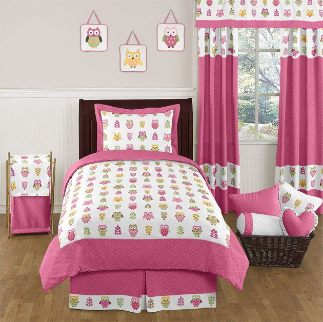 Sweet Jojo Designs Owl Pink Collection 4pc Twin Bedding Set