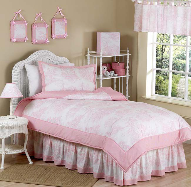 Sweet Jojo Designs Pink Toile Collection 4pc Twin Bedding Set