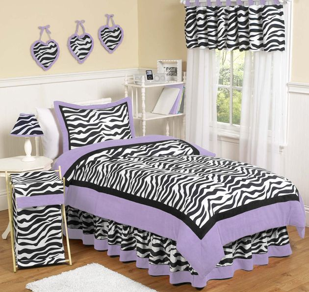 Sweet Jojo Designs Zebra Purple Collection 4pc Twin Bedding Set