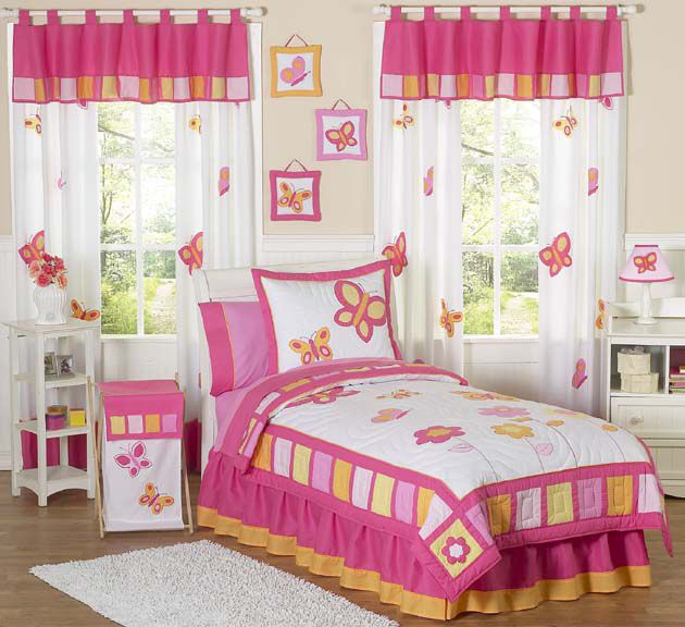 Sweet Jojo Designs Butterfly Pink and Orange Collection 4pc Twin Bedding Set
