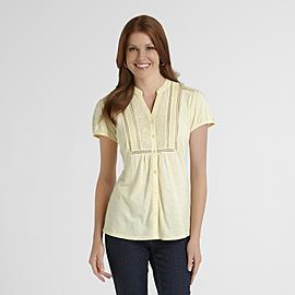 Gloria Vanderbilt Women's Mandarin Collar Blouse at Sears.com