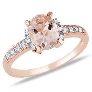 Rose Gold Plated Sterling Silver Morganite and Diamond Ring (G-H, I2-I3) at Kmart.com